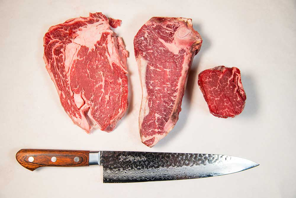 steaks and knife